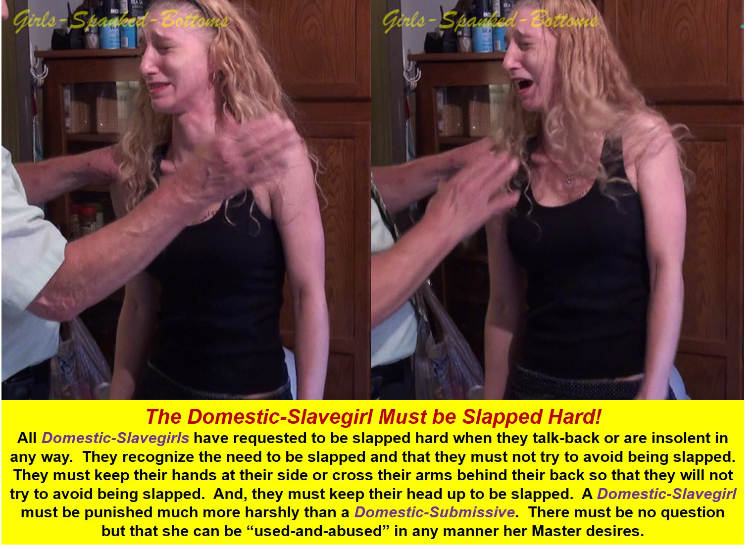 Domestic-Slavegirl Slapped Hard